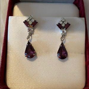 Teardrop purple/rhinestone earrings with backs